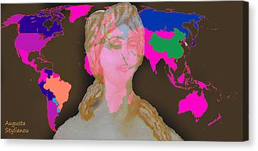 Aphrodite And World Map  Canvas Print by Augusta Stylianou