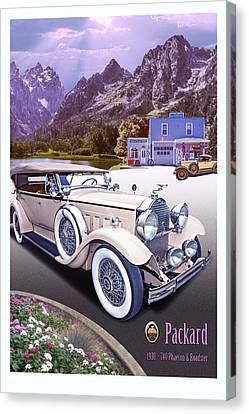 Canvas Print featuring the photograph 1930 Packard 740 Phaeton  by Ed Dooley