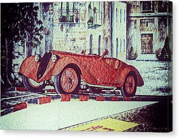 Canvas Print featuring the painting 1937 Alfa Romeo 8c 2900a by Boris Mordukhayev