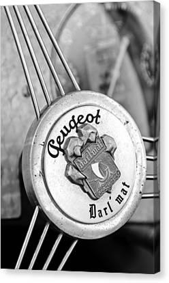 1937 Peugeot 402 Darl'mat Legere Special Sport Roadster Recreation Steering Wheel Emblem Canvas Print by Jill Reger