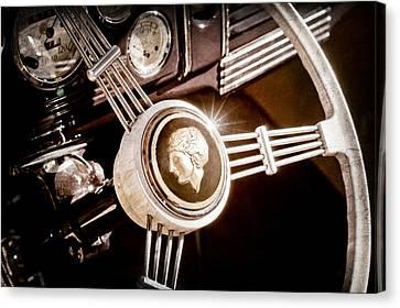 1939 Ford Standard Woody Steering Wheel Canvas Print by Jill Reger