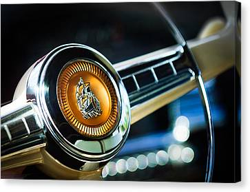 1949 Plymouth P-18 Special Deluxe Convertible Steering Wheel Emblem Canvas Print by Jill Reger