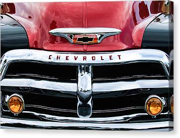 1955 Chevrolet 3100 Pickup Truck Grille Emblem Canvas Print by Jill Reger