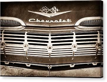 1959 Chevrolet Grille Emblem Canvas Print by Jill Reger