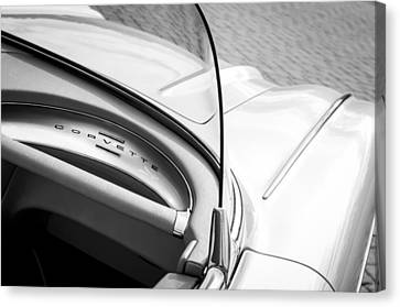 1960 Chevrolet Corvette Dashboard Emblem Canvas Print by Jill Reger