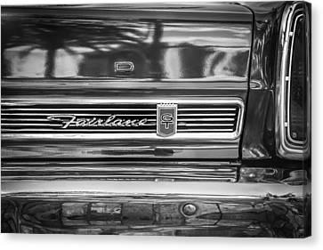 1967 Ford Fairlane 500xl Bw Canvas Print