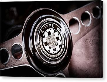 1967 Jaguar E-type Series I 4.2 Roadster Steering Wheel Emblem Canvas Print by Jill Reger