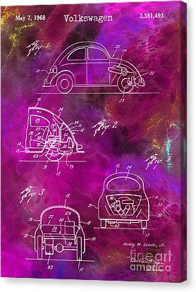 1968 Vw Patent Drawing Canvas Print by Jon Neidert