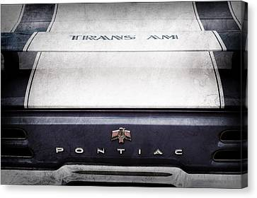 1969 Pontiac Trans Am Tail Fin Emblem Canvas Print by Jill Reger