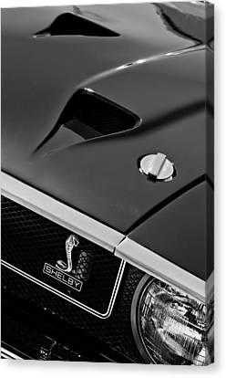 1969 Shelby Gt500 Convertible 428 Cobra Jet Hood - Grille Emblem Canvas Print by Jill Reger