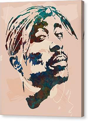 Worldwide Canvas Print - 2pac Tupac Shakur Stylised Pop Art Poster by Kim Wang