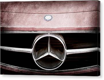 300 Mercedes-benz Sl Roadster Hood Emblem Canvas Print by Jill Reger