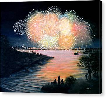4th Of July Gloucester Harbor Canvas Print by Eileen Patten Oliver