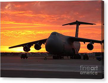 A C-5 Galaxy Sits On The Flightline Canvas Print