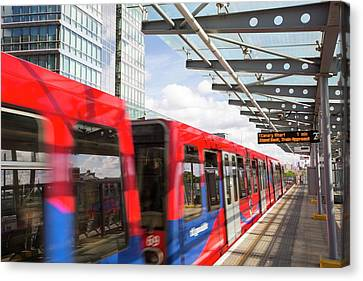 A Docklands Light Railway Train Canvas Print by Ashley Cooper