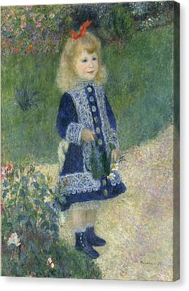 A Girl With A Watering Can Canvas Print by Mountain Dreams