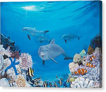 Sea Anenome Canvas Print - A Visit To The Reef by Jeremy Reed