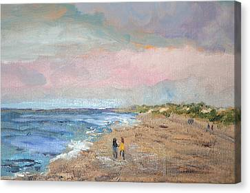 Canvas Print featuring the painting A Walk On The Beach by Michael Helfen