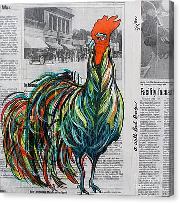 Canvas Print featuring the painting A Well Read Rooster by Janice Rae Pariza
