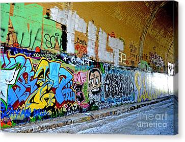 Abandoned Train Tunnel South Of The Old Train Roundhouse At Bayshore Near San Francisco  Canvas Print by Jim Fitzpatrick