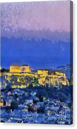 Acropolis Of Athens During Sunrise Canvas Print