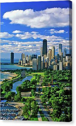 View. Chicago Canvas Print - Aerial View Of Chicago, Illinois by Panoramic Images