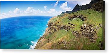 Aerial View Of The Coast, Na Pali Canvas Print by Panoramic Images