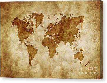 Aged World Map On Dirty Paper Canvas Print