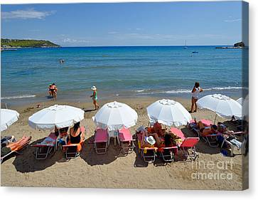 Agia Marina Beach Canvas Print by George Atsametakis