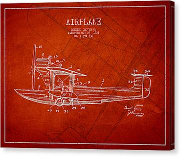 Airplane Patent Drawing From 1921 Canvas Print