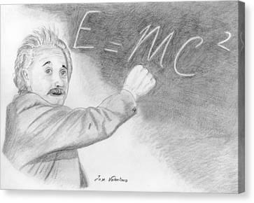 Albert Einstein Canvas Print by M Valeriano