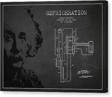 Albert Einstein Patent Drawing From 1930 Canvas Print by Aged Pixel