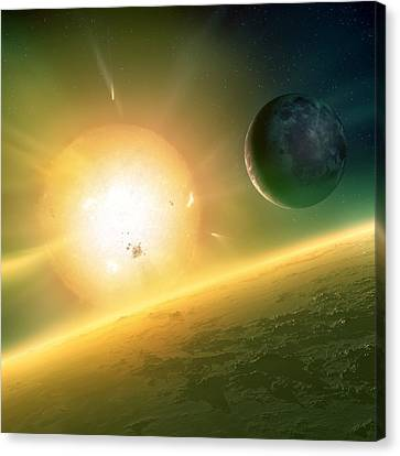 Alien Planetary System, Artwork Canvas Print by Science Photo Library