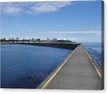Canvas Print featuring the photograph Along The Breakwater by Marilyn Wilson