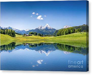 Mountain Reflection Lake Summit Mirror Canvas Print - Alpine Summer by JR Photography
