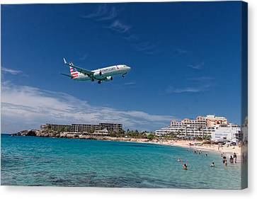 American Airlines At St Maarten Canvas Print by David Gleeson
