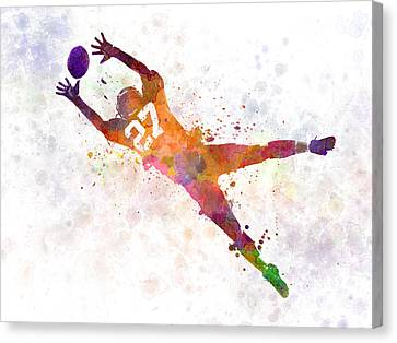 American Football Player Man Catching Receiving Canvas Print