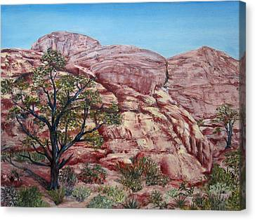 Canvas Print featuring the painting Among The Red Rocks by Roseann Gilmore