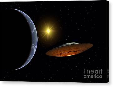 Ancient Aliens Arriving Towards Earth Canvas Print by Stocktrek Images