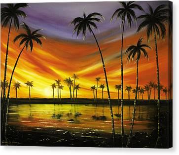 Another Sunset In Paradise Canvas Print by Gina De Gorna