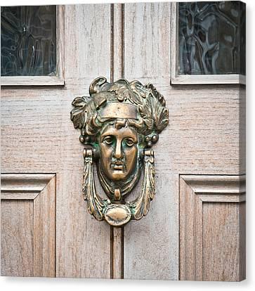 French Door Canvas Print - Antique Door Knocker by Tom Gowanlock