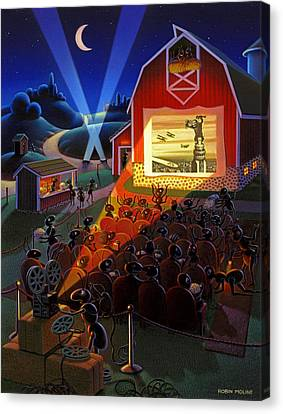 Ant Canvas Print - Ants At The Movies by Robin Moline