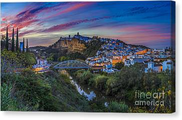 Canvas Print featuring the photograph Arcos De La Frontera Panorama Cadiz Spain by Pablo Avanzini