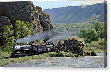 At Point Of Rocks-bound For Yellowstone Canvas Print by Paul Krapf