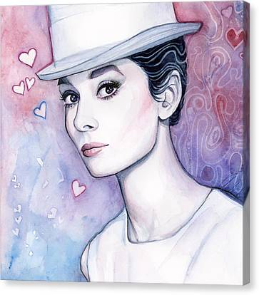Audrey Hepburn Fashion Watercolor Canvas Print