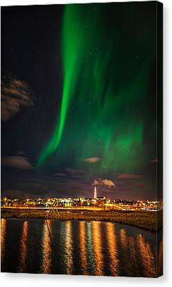 Star Trails Canvas Print - Aurora Borealis Or Northern Lights by Panoramic Images