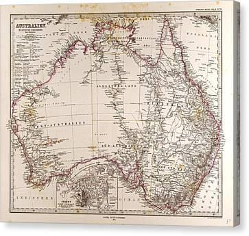 Australia Map Gotha Justus Perthes 1872 Atlas Canvas Print