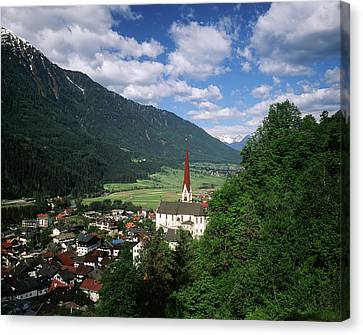 Austria, Tyrol, Oetz, View Of Town Canvas Print by Walter Bibikow