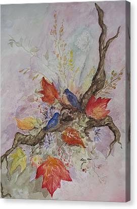 Autumn Bluebirds Canvas Print
