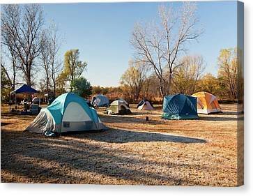 Autumn Camping At Copper Breaks State Canvas Print by Larry Ditto
